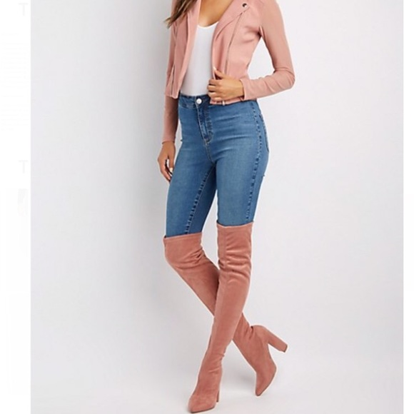 Brand New Mauve Over The Knee Boots